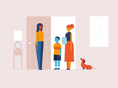 Mentor Network dachshund children foster mentor design illustration characters