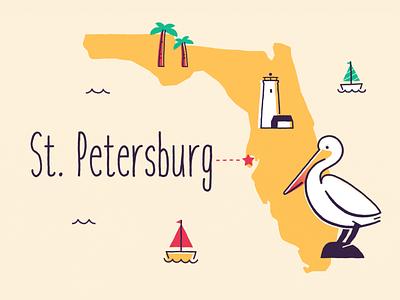 St. Petersburg pelican lighthouse boat design illustration vector evp environmental voter florida st. petersburg