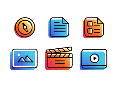 Process Icons planet nutshell animation flat vector design icons process