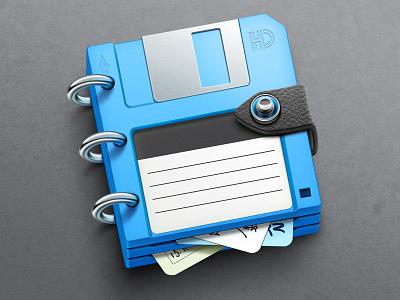 Bluenote app icon artua icon illustration app icon mac disc floppy disc task organizer security