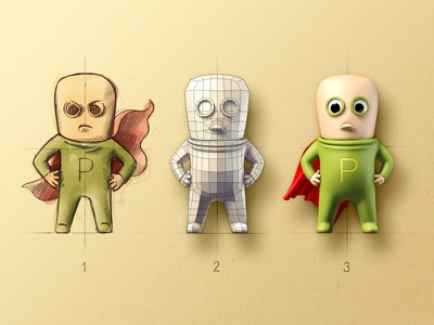 P-Man character design artua illustration icon character person human super hero coat eye render photoshop sketch polygon sketch letter pencil sketch glass flying suit suit fly wind air shadow 3d scheme ios apple ipad iphone game mac