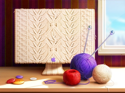 Grandmother at a Party app icon game art artua ui design ui game design knitting twist button imac illustration wood