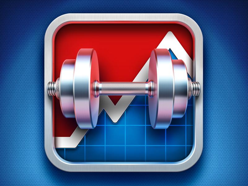 Gym Genius app icon artua icon illustration ios app icon work out dumbbells metal texture silver sport gym