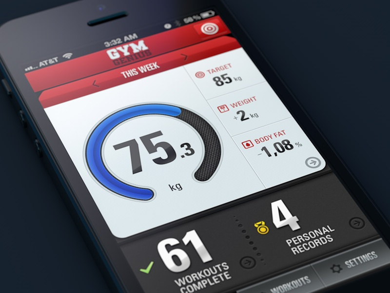 Gym Genius app UI artua ui gui app ios work out iphone ipad fitness button bar numbers