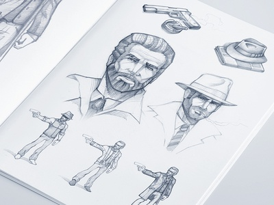 Gangsters illustrations  artua icon illustration character game sketch concepts paper pencil hat drawing pistol