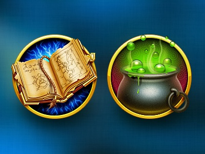Some magic artua icon illustration magic book cauldron spell dream badge potion