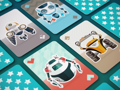 Robocards game design artua icon illustration character game robot card ios flag texture play