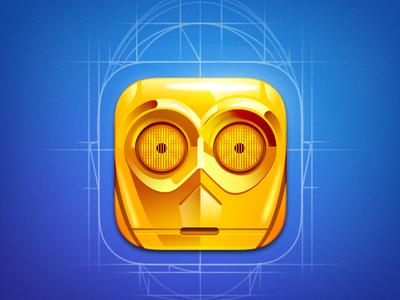 C3PO app icon character design game art game design character movie mask c3po star wars illustration icon artua