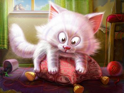 Kitten Illustration   illustration cat kitten pet pillow fur character artua