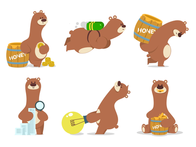 Animated Bears concept ui website design game art game design bear animal animation character illustration artua