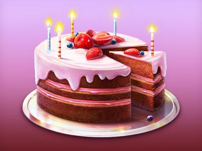 Birdhday Cake Illustration  icon illustration cake birthday candle strawberry artua