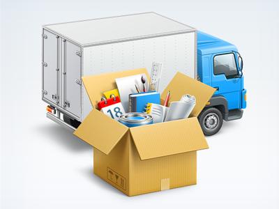 Logistics icon icon illustration box car truck artua