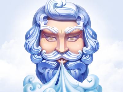 tFlow Server icon illustration aeolus blow wind curls head clouds artua