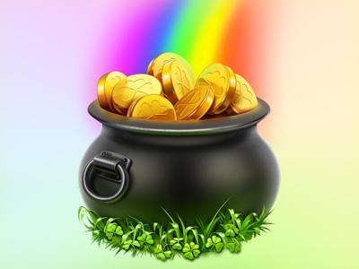 St. Patrick's Day illustration  icon illustration cisco st. patricks day st. patrick pot of gold pot gold rainbow clover artua