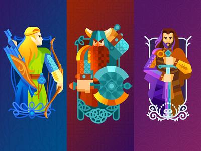 Flat Fellows bow axe ring sword lord of the rings flat gimli legolas aragorn illustration artua