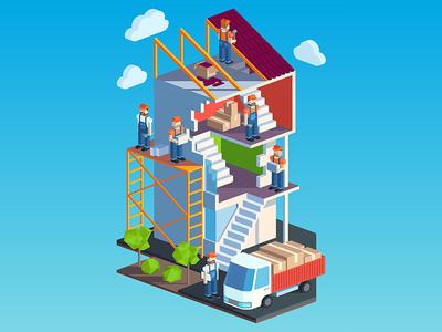 Construction car floor stair house worker construction building illustration artua