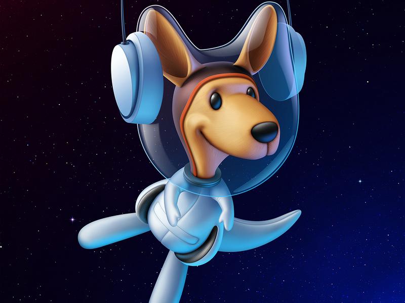 The Astronaut logo character space astronaut animal kangaroo illustration artua
