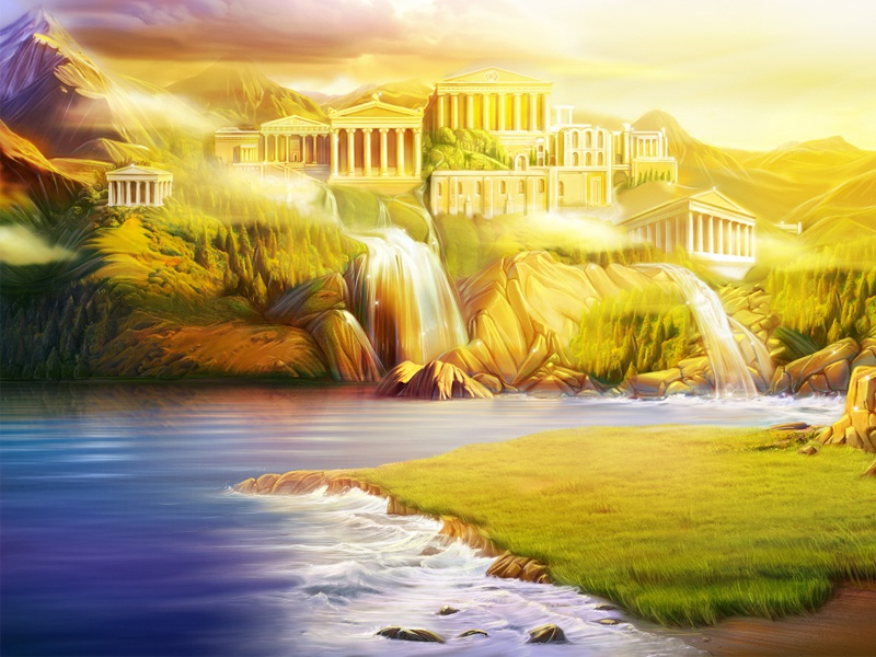 Digital painting landscape  waterfall rock digital painting temple building water ancient greece background game illustration artua
