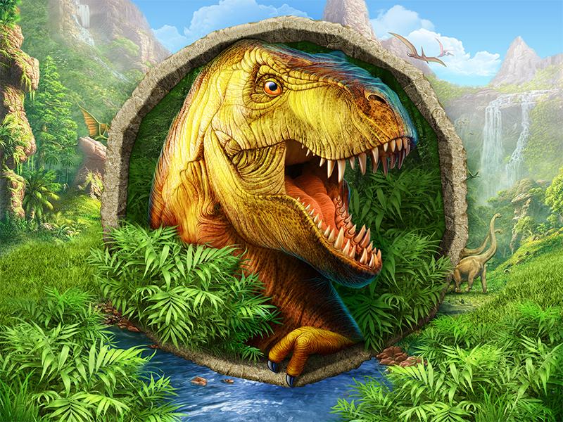 66 million years ago mountains character jungle water logo t-rex nature dinosaur game illustration artua