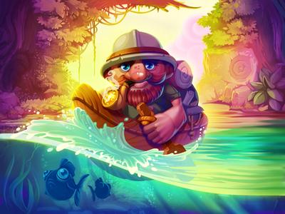 Pioneer water fish adventure pipe boat jungle river pioneer explorer amazon illustration artua