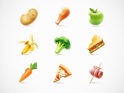 Nom Nom Nom icons food vegetables pizza nom artua