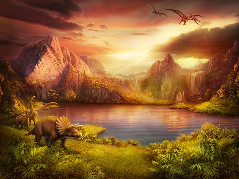 Digital painting piece  ios game design sky water nature artwork dinosaurs background digital painting illustration artua