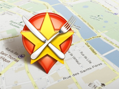 The Pin icon illustration pin map food artua
