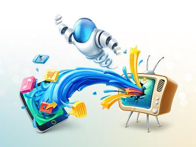 Zoimp Illustration illustration character tv tablet robot artua