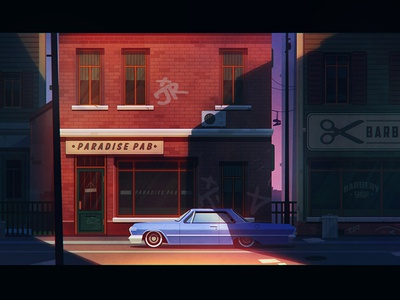 Evening in the city game design urban building street city flat car noir impala illustration artua