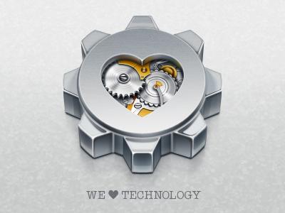 We Love Technology icon illustration gear metal heart artua