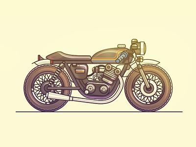 Cafe Racer  vehicle flat motor bike motorcycle cafe racer illustration icon artua