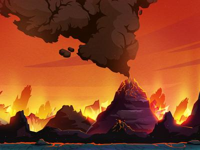Game location ash smoke eruption surface lava arcade game rocks location background illustration artua