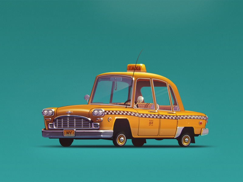 The Checker Cab artua illustration checker cab yellow ny taxi wheels car