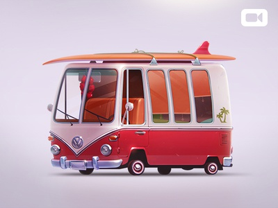 Volkswagen T1 app icon game art game design vehicle surfing board volkswagen t1 illustration bus car artua