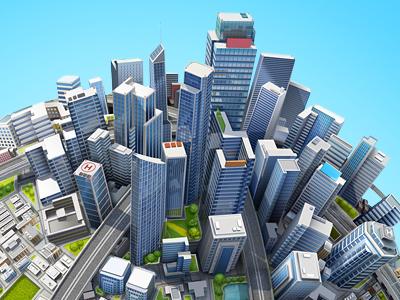 City illustration illustration city render glass skyscraper artua