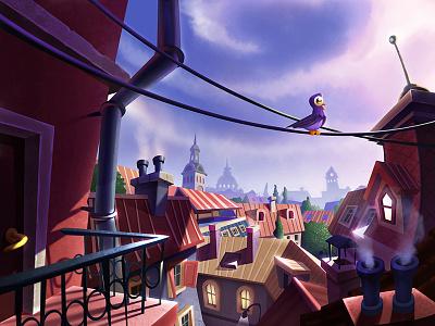Window view sky balcony street window building city view roof bird illustration artua