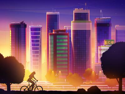 Modern city skyscraper building car train urban cycle sun light sunset city illustration artua