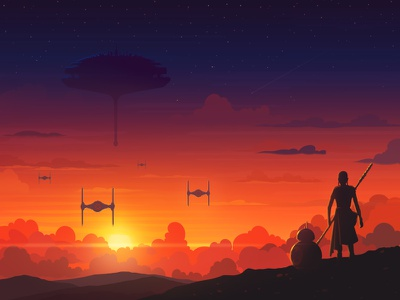 Sunset in a galaxy far far away design clouds space sky tie fighter starship character star wars sunset illustration artua