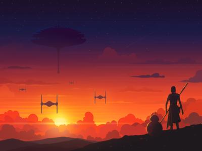 Sunset in a galaxy far far away