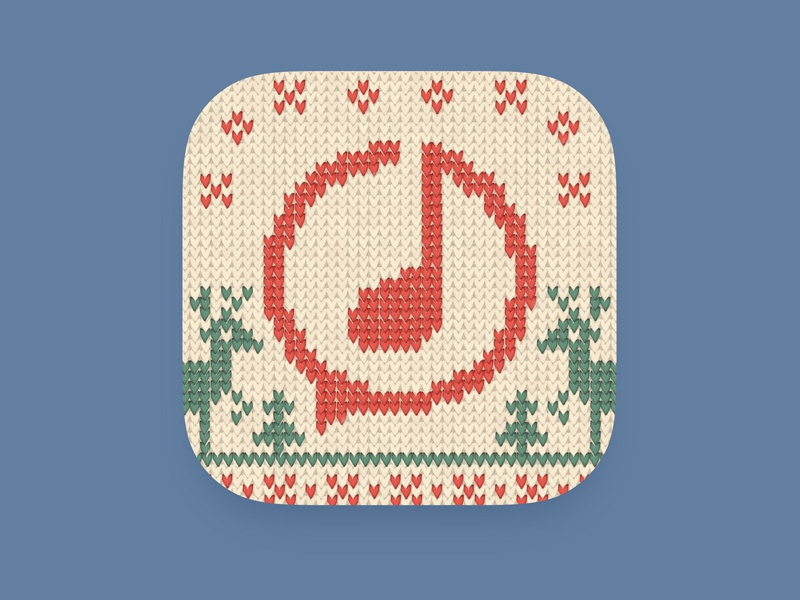 Ditty icon Christmas version sweater wool ios deer holidays winter music app christmas artua design icon