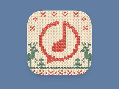 Ditty icon Christmas version sweater wool ios deer holidays winter music app christmas artua design icon