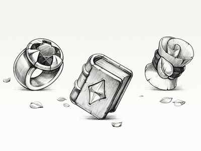 In game artwork sketches scroll ring book symbol 3 match in game sketch game design illustration icon artua