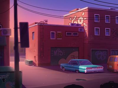 Urban shot design game artwork game design graffiti building sunset car city urban illustration artua