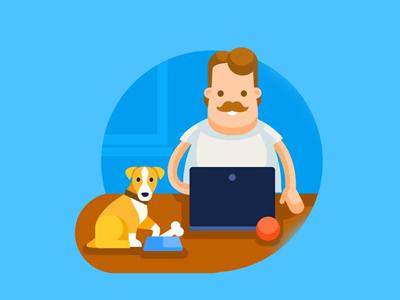 Dog keeper website design dog animal human character character design game art illustration design game design illustration flat style artua