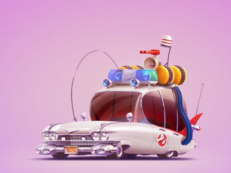 Who ya gonna call? cartoon character car vehicle ghostbusters game art game design illustration artua