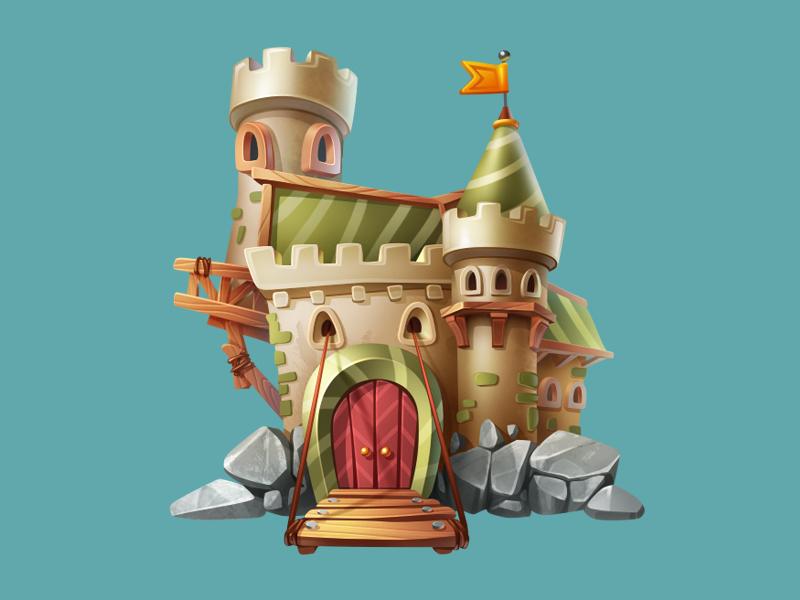 Castle construction building game art game design castle icon illustration artua
