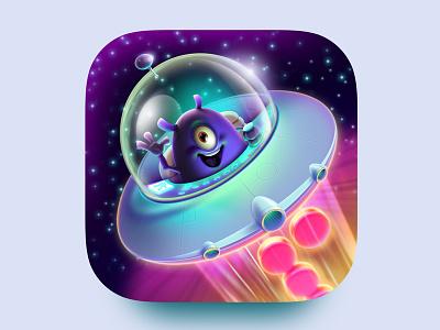 Dropa icon design character ufo alien ios app game art game design icon design illustration artua icon