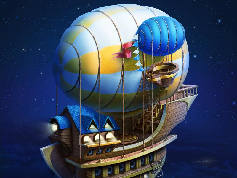Sky ship sky fly magic ship design artwork game design game art illustration artua