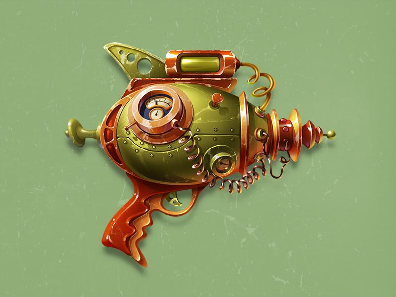 Just a gun cannon weapon art steampunk game art game design gun icon illustration artua