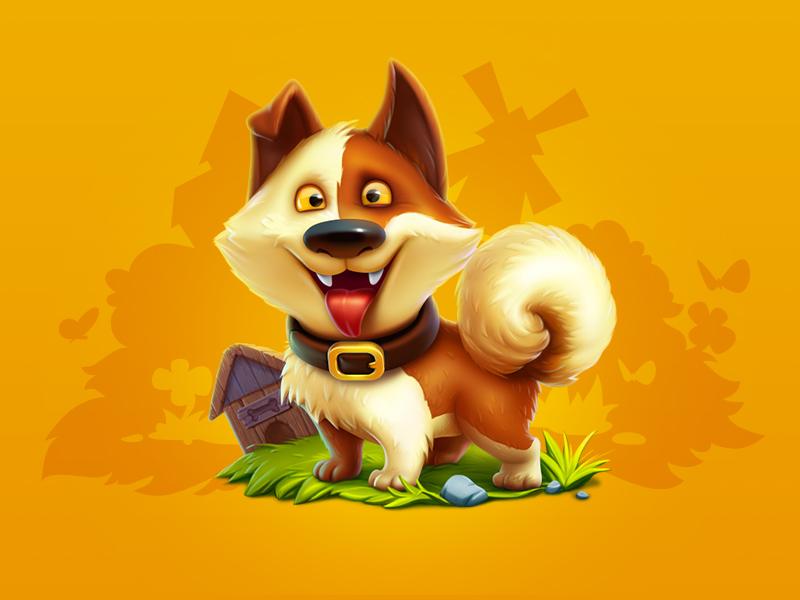 Farm dog good boy animal cure dog character character design game art game design icon illustration artua